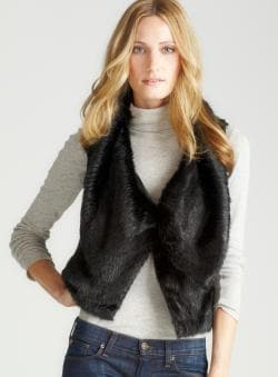 Steve Madden Black Faux Rabb It Fur Vest