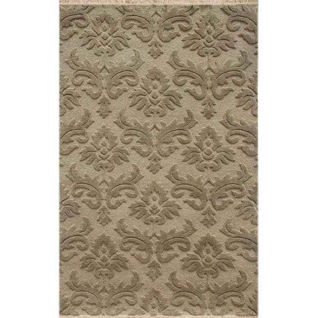 Hand-knotted Floral Mushroom Wool Rug (5' x 8')