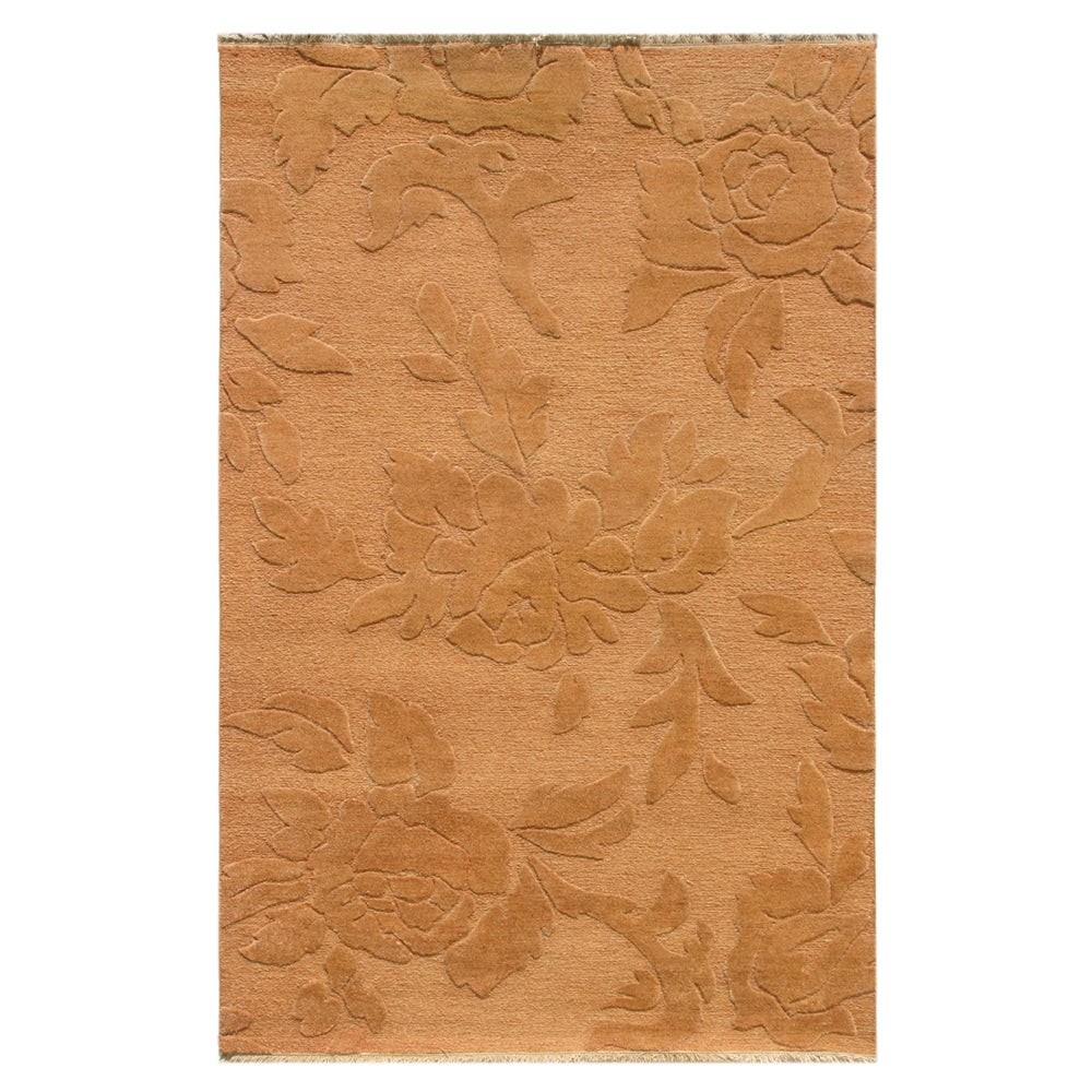 Hand-knotted Floral Pumpkin Wool Rug (5' x 8')