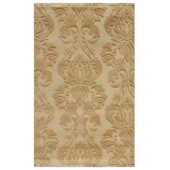 Hand-knotted Floral Tan Wool Rug (5' x 8')