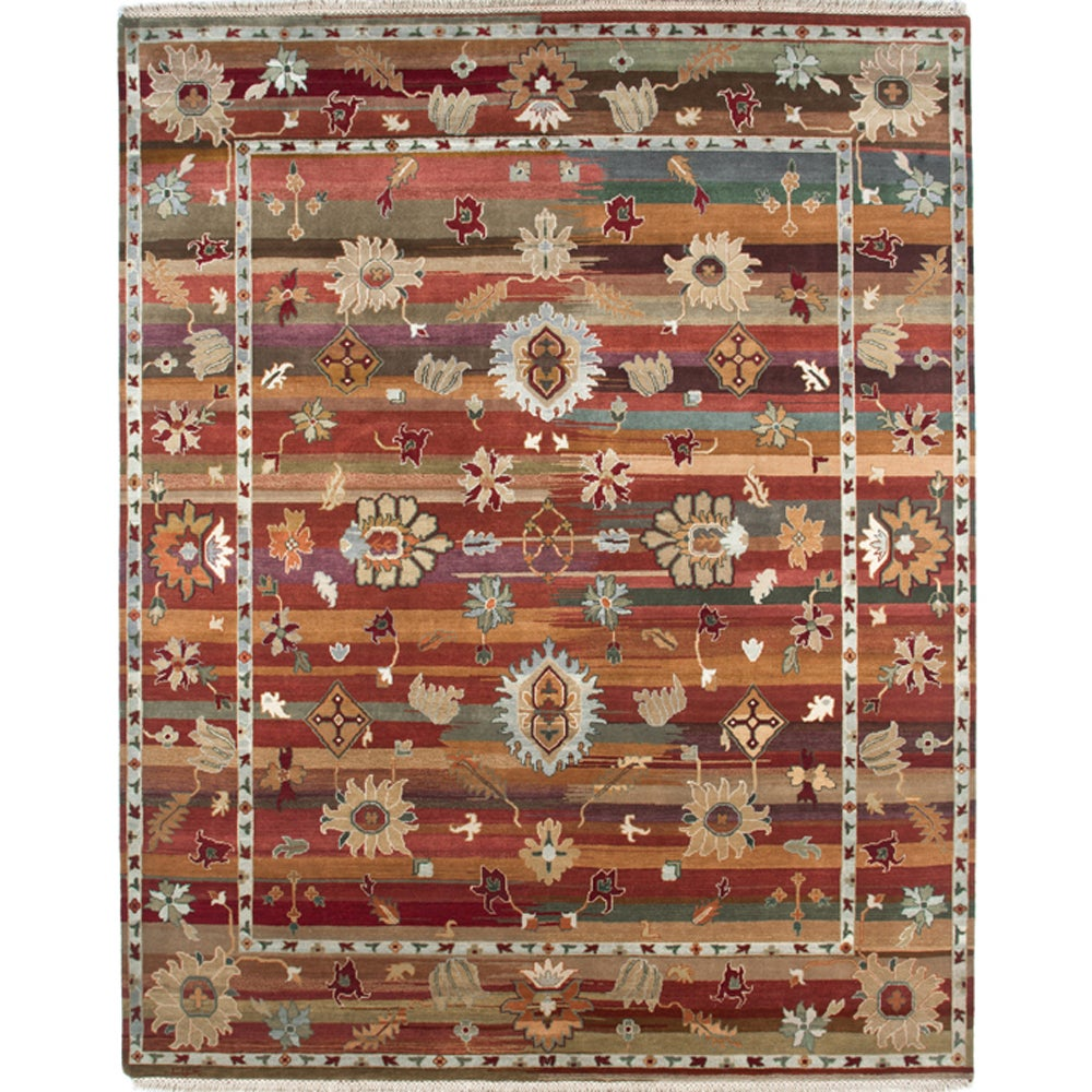 Hand-knotted Traditional Cocoa Brown Wool Rug (8' x 10')