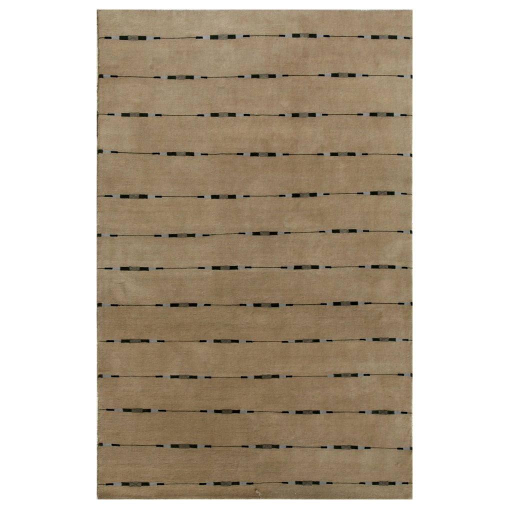 Indo-tibetan Stripe Natural Beige Wool/ Viscose Rug (5'6 x 8'6)
