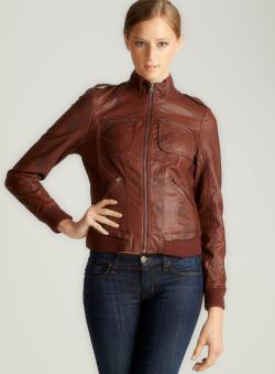 Bernardo Waxy Faux Leather Bomber With Knit Bottom
