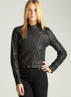 Bernardo Waxy Faux Leather Moto Jacket