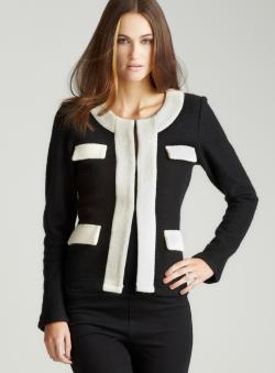 For Cynthia Jewel Neck Contrast Trim Jacket