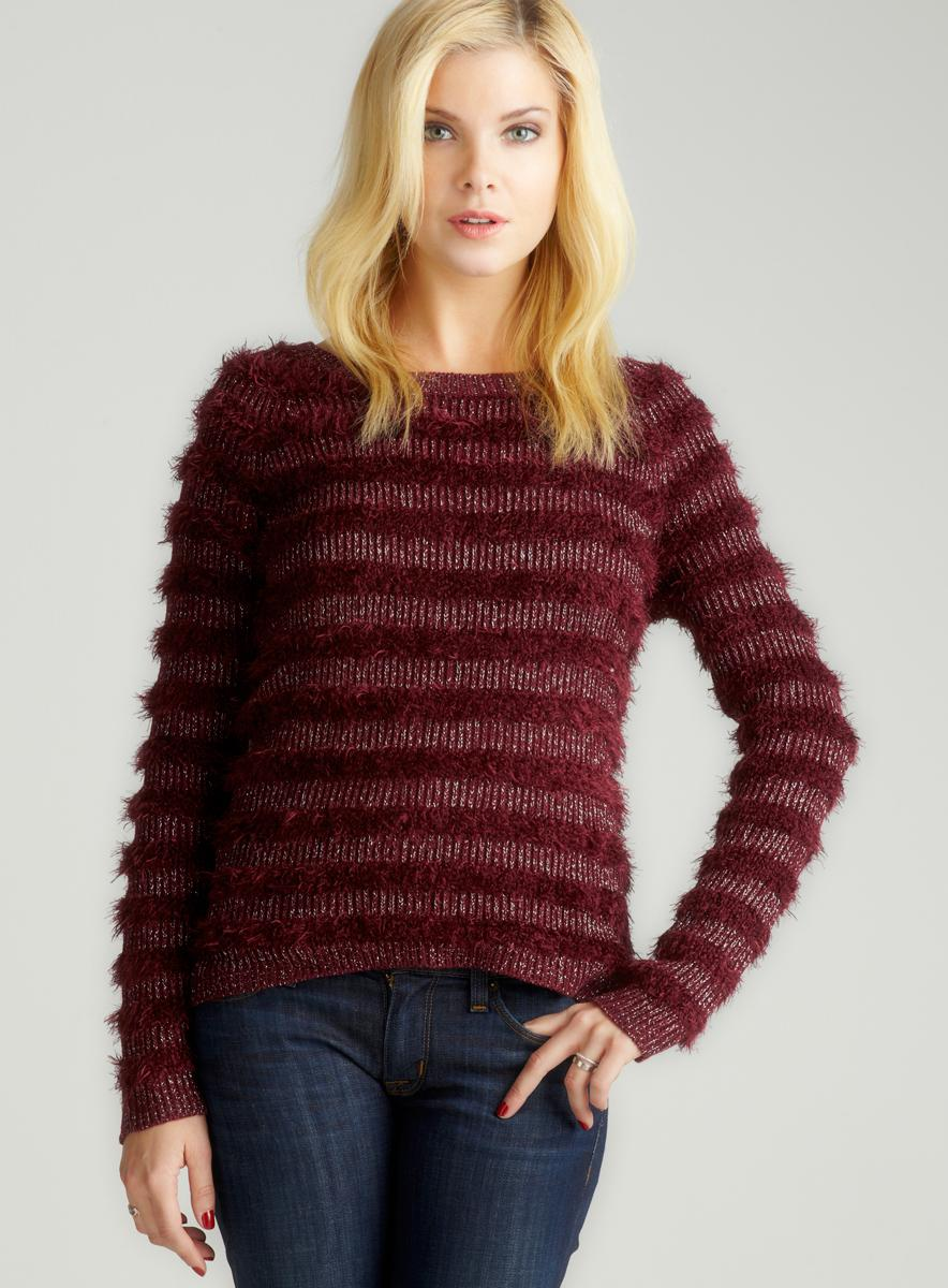 Romeo & Juliet Couture Metallic Stripe L/S Sweater