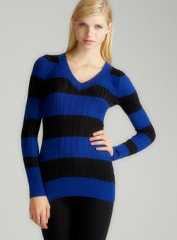 Prince Of Thieves L/S V-Neck Stripe Rib Sweater