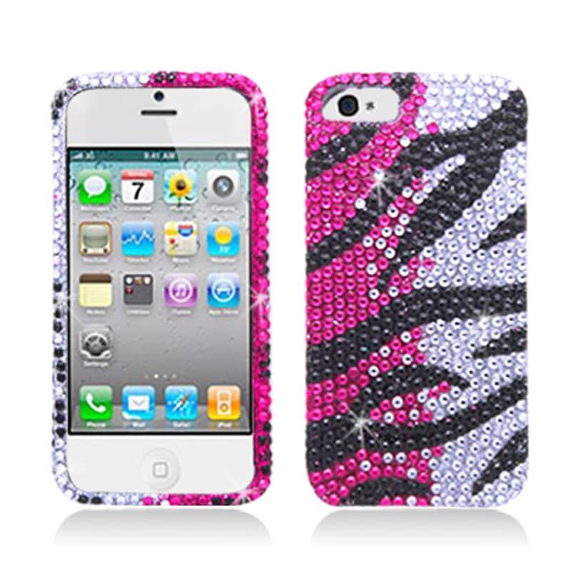 BasAcc Full Diamonds Hot Pink Zebra Case for Apple iPhone 5