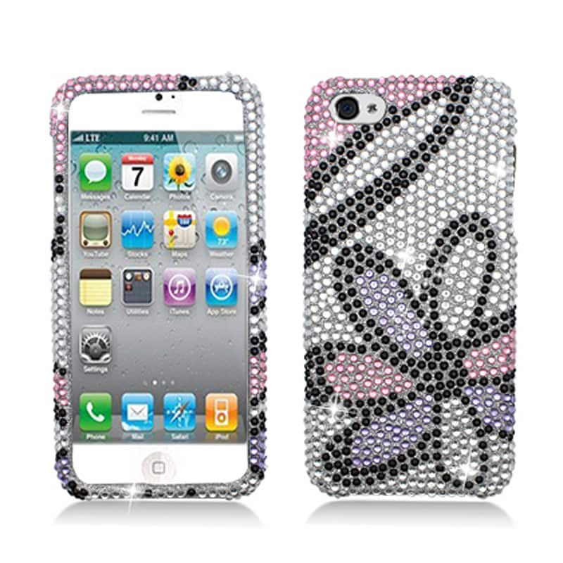 BasAcc Full Diamonds Pink Flowers Case for Apple iPhone 5