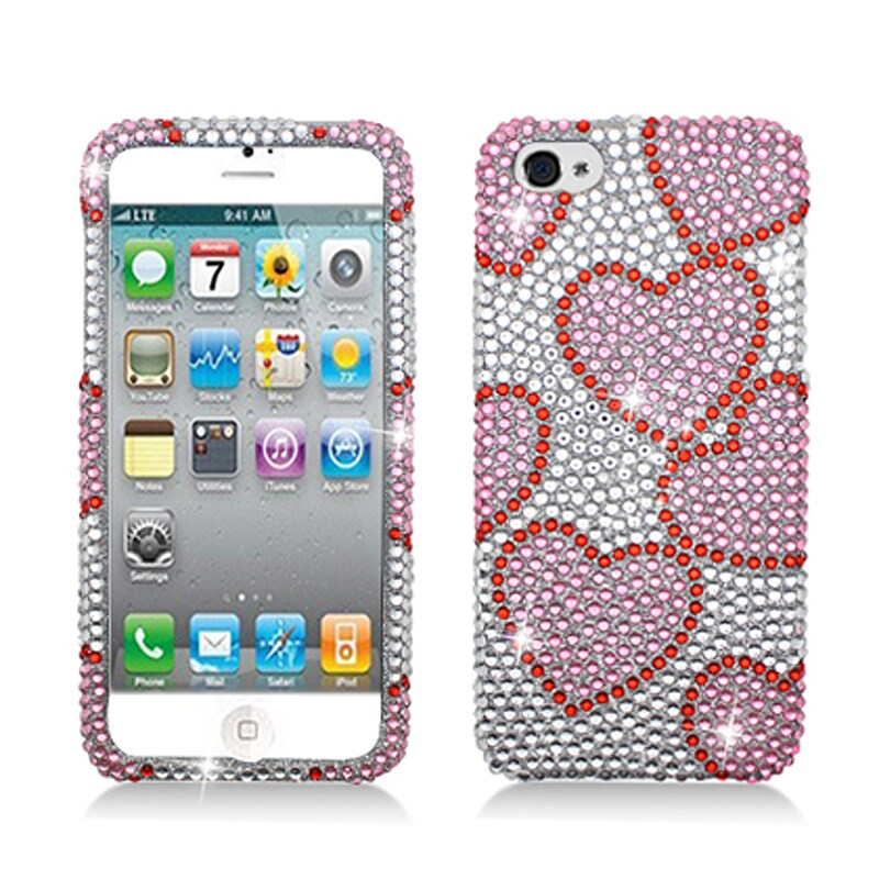 BasAcc Full Diamonds Silver Hearts Case for Apple iPhone 5