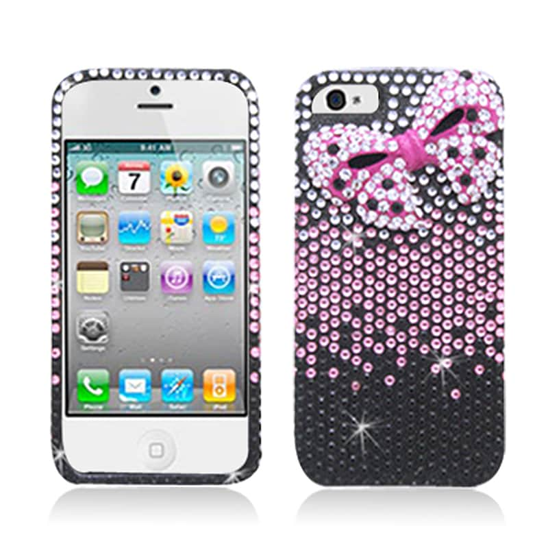 BasAcc Black/ Pink Diamonds with 3D Bow Tie Case for Apple iPhone 5