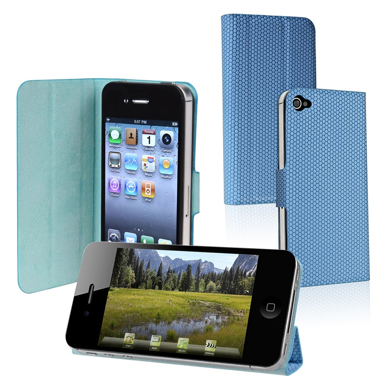 BasAcc Blue Leather Case with Stand for Apple iPhone 4/ 4S