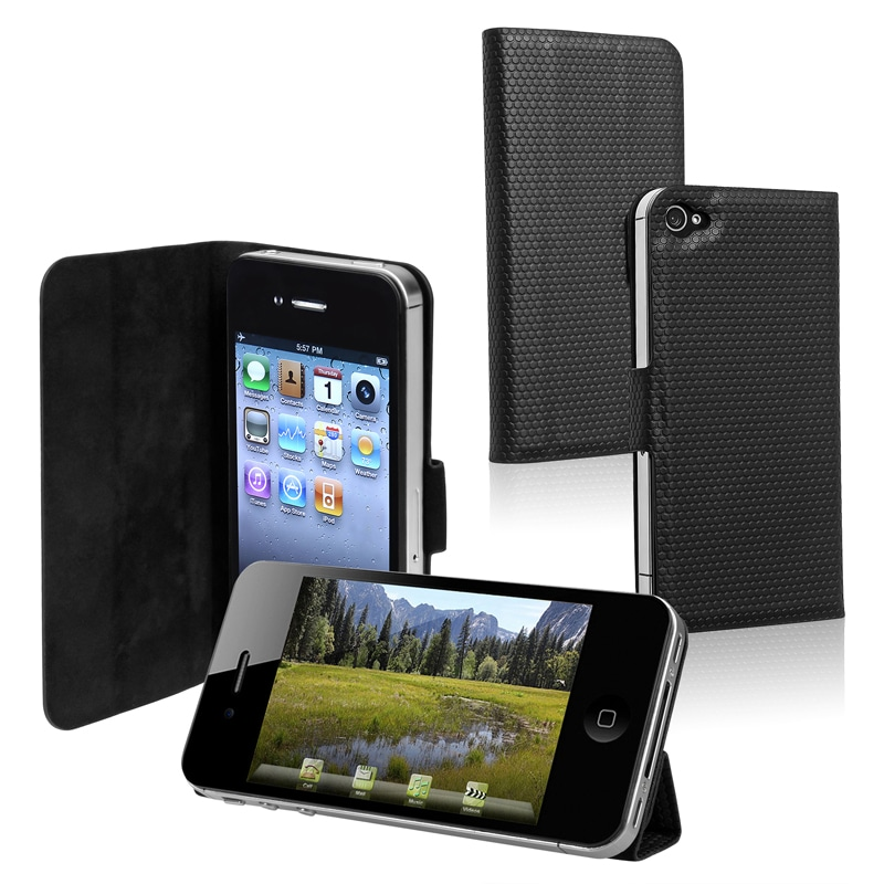 BasAcc Black Leather Case with Stand for Apple iPhone 4/ 4S