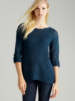 JJ Basics Solid Openweave Roll Slv Sweater