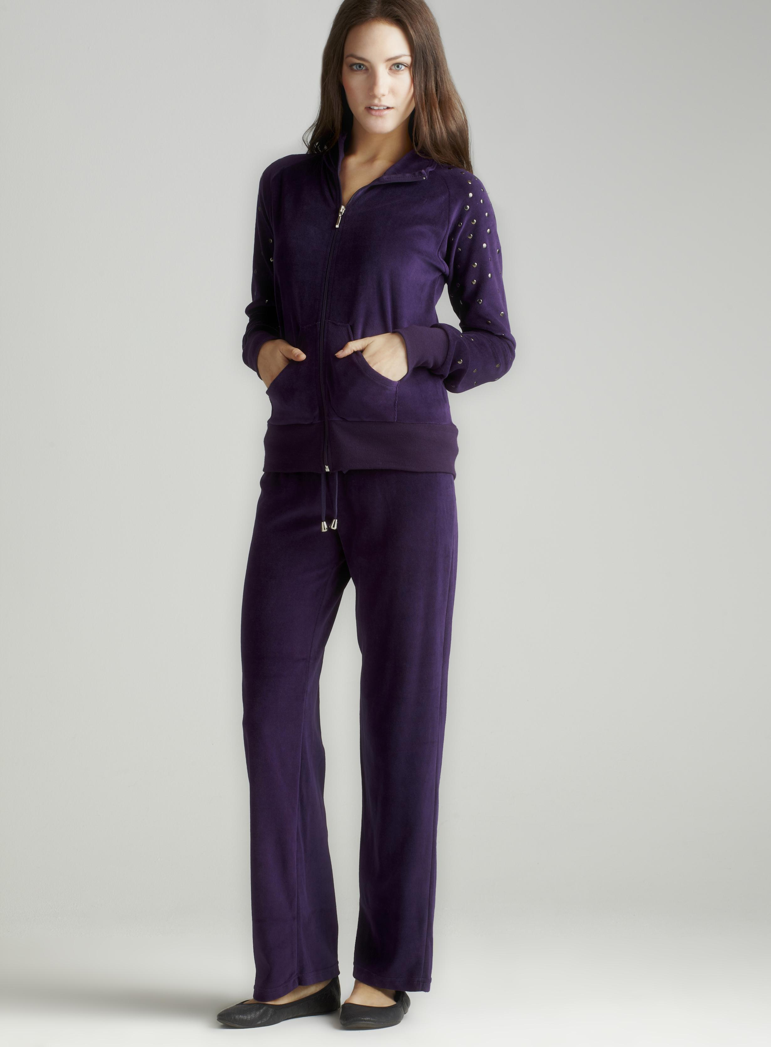 Central Park West Embellished Velour In Purple