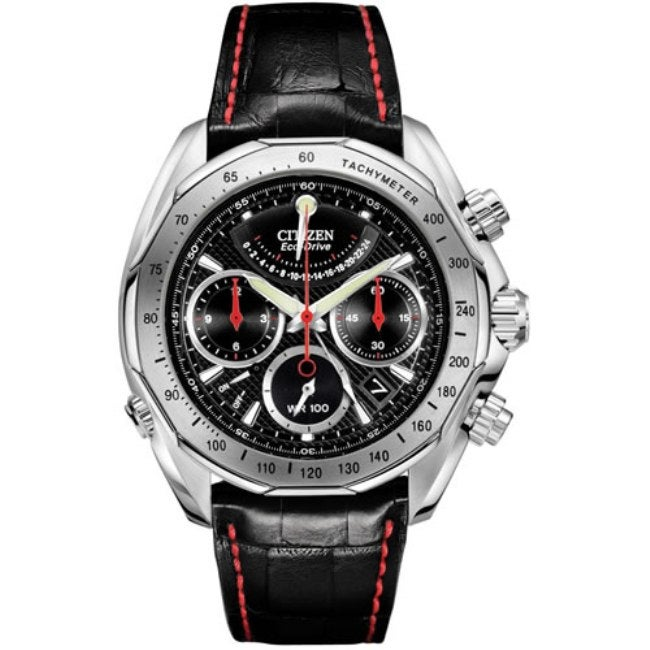 Citizen Signature Eco-Drive Flyback Moonphase Leather Strap Men's Watch