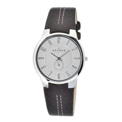 Skagen Men's Stainless Steel Silver Dial Brown Leather Strap Watch