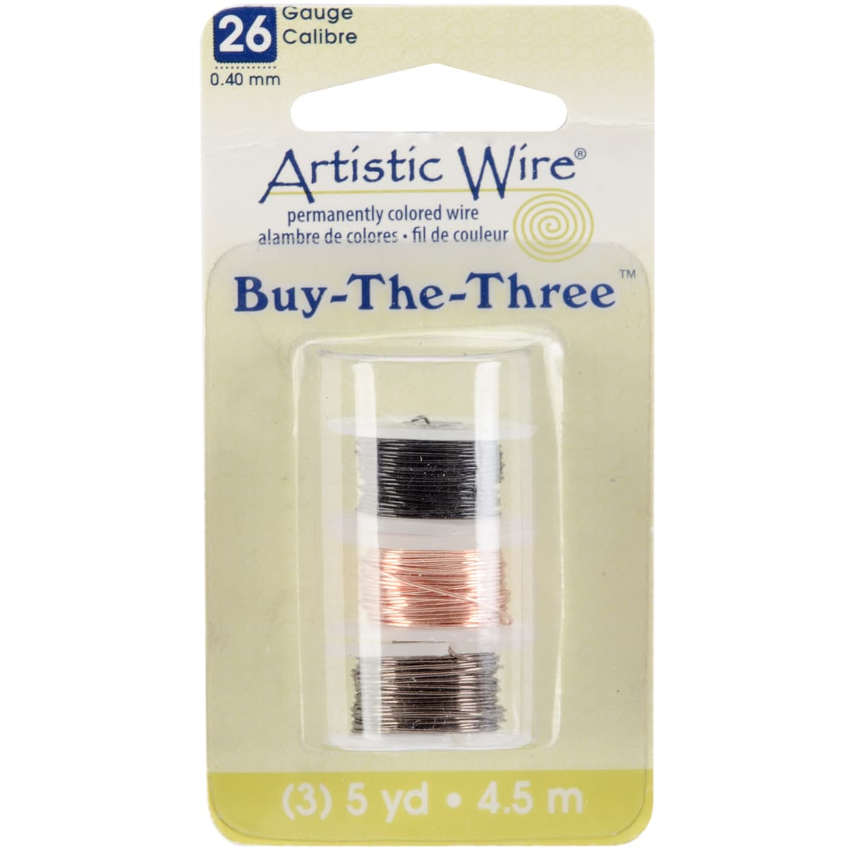 Artistic Wire Buy The Three 3/Pkg-26 Gauge Black/Natural/Gunmetal 5 Yd/Ea