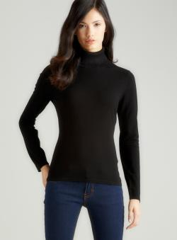 August Silk Black Silk Turtleneck