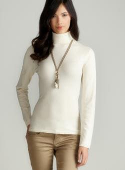 August Silk Cream Silk Turtleneck