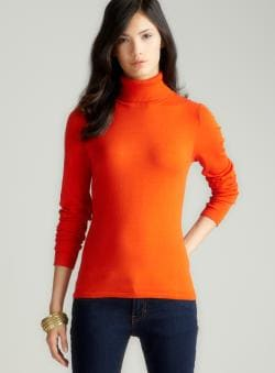 August Silk Pumpkin Silk Turtleneck