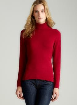 August Silk Red Silk Turtleneck