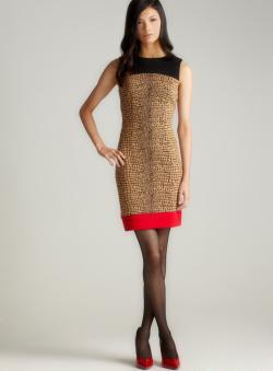 Calvin Klein Ponte Tritone Skin Print Dress