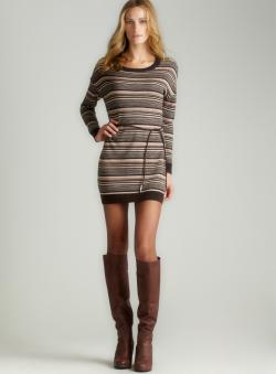 Joan Vass Tart-L/S Crewnk Striped Tunic