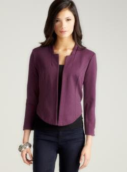 Wdny Collarless Open Front Jacket