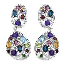 Malaika Sterling Silver 6ct TGW Multi-gemstone Earrings