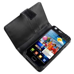 Black Leather Case/ Screen Protector for Samsung Galaxy S II i9100