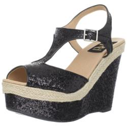 Fahrenheit Women's 'Layla-02' Black Sparkle Platforms