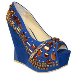Toi et Moi Women's 'Mango-06' Blue Suede Jeweled Wedges