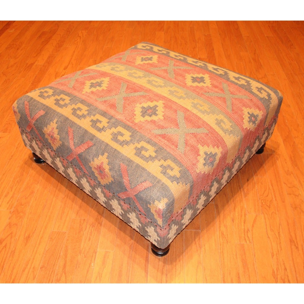 Elements Rubbed Medium Brown Wood Ottoman ~ Handmade kilim upholstered storage footstool ottoman