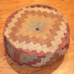  Handmade Kilim Upholstered Round Puff Ottoman (India)