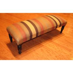 Handmade Kilim Upholstered Bench (India)