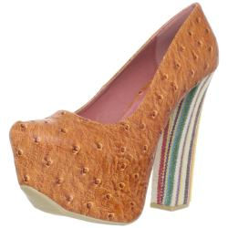 Fahrenheit Women's 'Anne-36' Orange Faux Ostrich Platforms