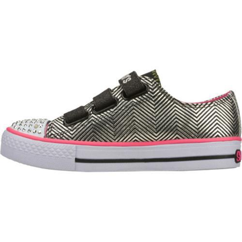 Girls' Skechers Twinkle Toes Shuffles Triple Up Black/Pink