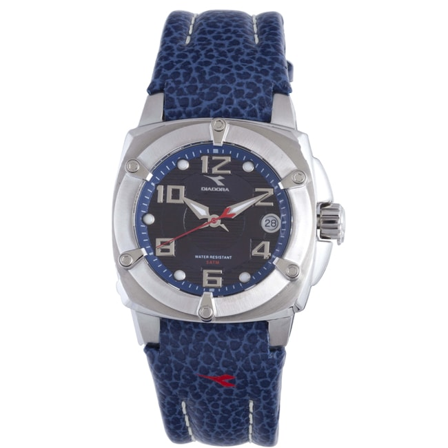Diadora Women's Blue Dial Leather Date Watch