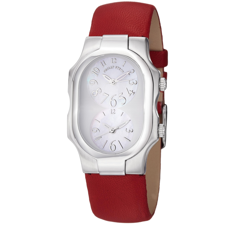 Philip Stein Women's 'Signature' Red Leather Strap Quartz Watch
