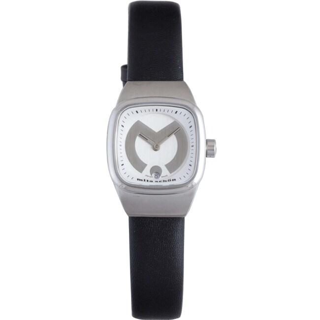 Mila Schon Children's Silver Sunray Dial Leather Date Quartz Watch