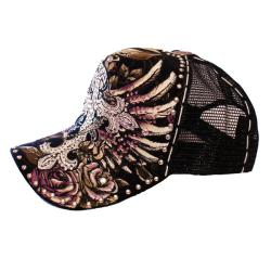 Stephanie B. Women's Black Cross Trucker Hat