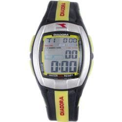 Diadora Men&#39;s Grey Dial Dual Time Display Black/ Yellow Rubber Digital Watch