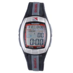 Diadora Men&#39;s Grey Dial Dual Time Black Rubber Digital Watch