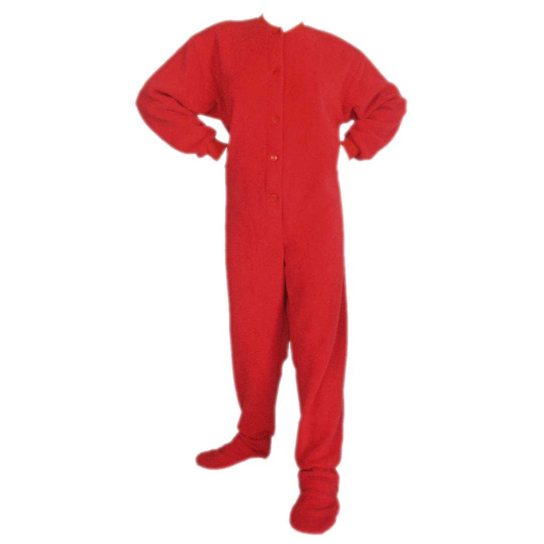 Sale alerts for  Adult Red Fleece Footed Onesie Pajama with Butt Flap - Covvet