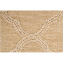 Hand-crafted Beige Mantra Wool Rug (3'3 x 5'3)