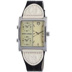 Mila Schon Women's Triple Time Zone Display Yellow Dial Leather Quartz Watch