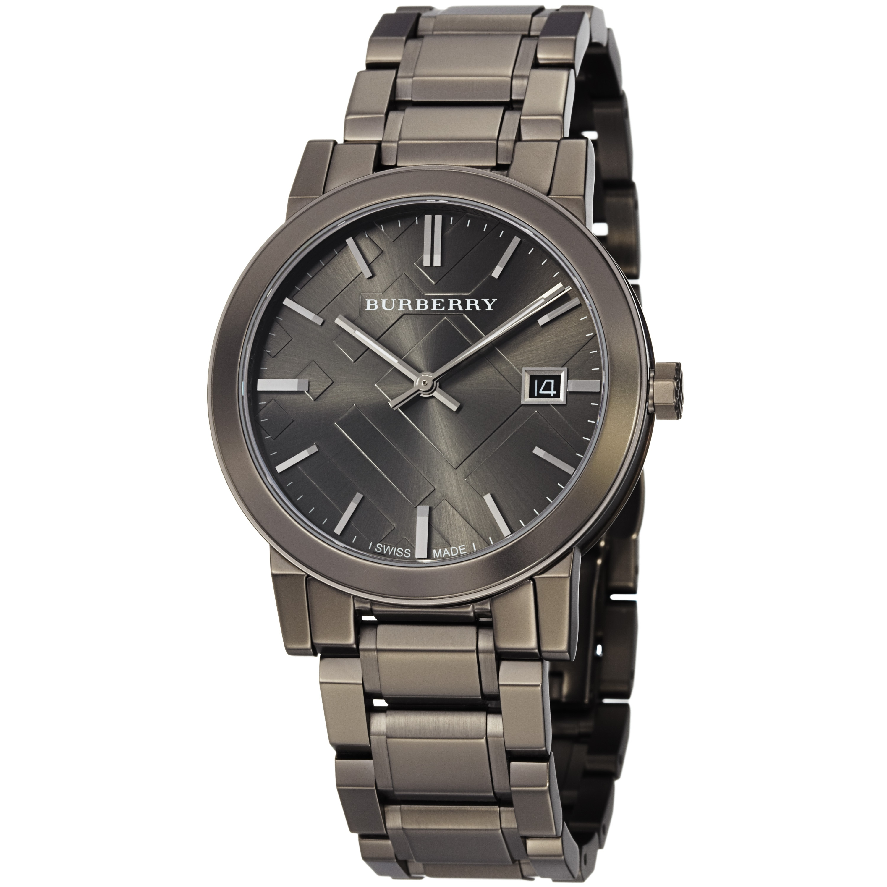 Burberry men 39 s 39 large check 39 gunmetal stainless steeel quartz watch 14340020 for Burberry watches