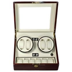 Steinhausen 12-mode Quad Tiger Cherry Lacquer Coated Wood Watch Winder