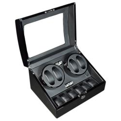 Steinhausen 12-mode Quad Black Lacquer Coated Wood Watch Winder